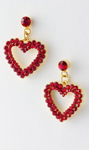 Jeweled Heart Earrings
