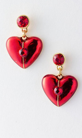 Metal Heart Dangle Earrings