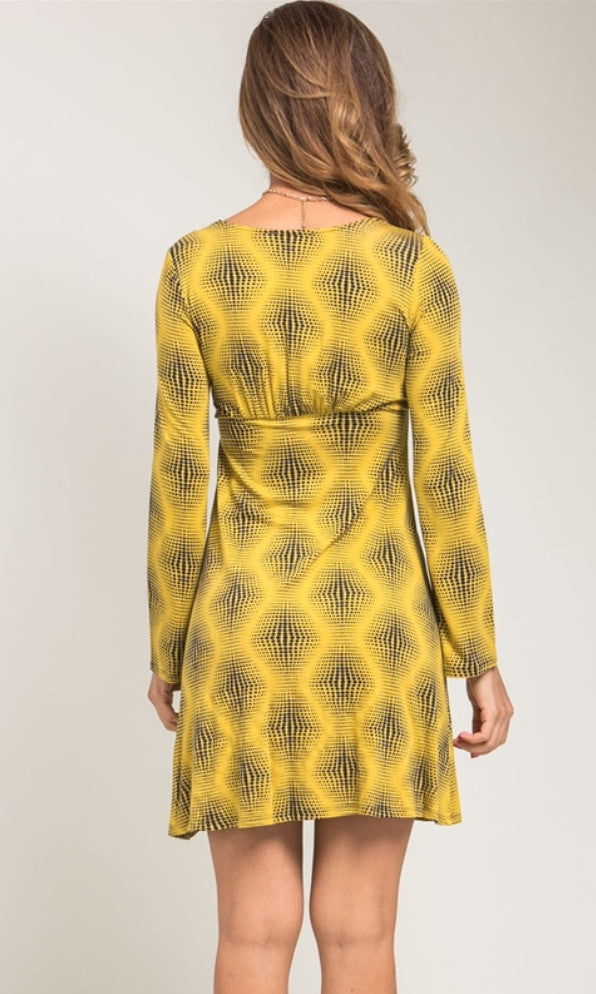 Mustard empire Waist summer dress