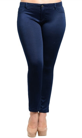 Navy Blue Plus Size Skinny Pants - FINAL SALE