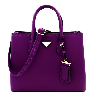 Triangular Logo Purple Satchel