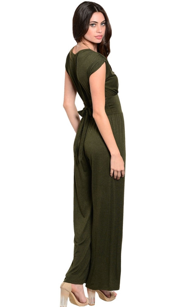 Casual to dress olive jumpsuit