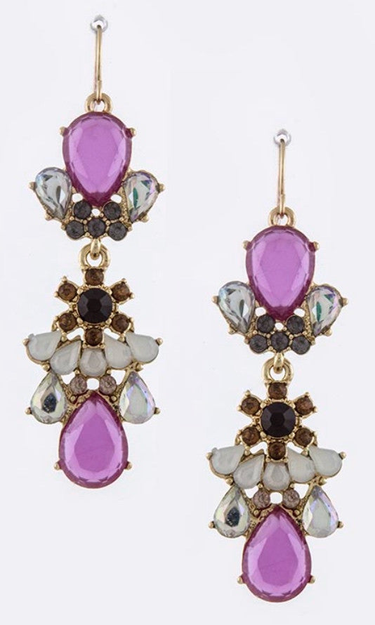 lavender gem drop earrings