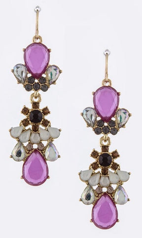 Opaque Gem Drop Earrings