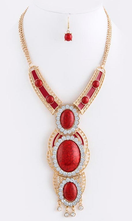 Red Oval Stone Tribal Necklace Set