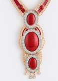 red crystal gold necklace and earrings