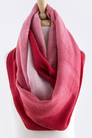 Pink and Red Infinity Scarf