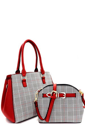 Red and plaid checkered tote bag