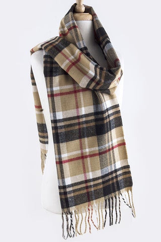 multi color plaid fringe scarf