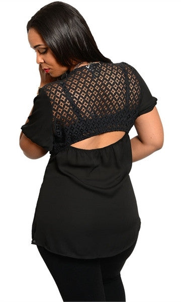 Horizontal Slit Plus Size Black Top