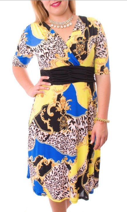 Royal Blue Multi Print Dress - FINAL SALE