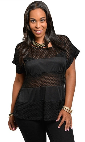 Plus Size Mesh Top