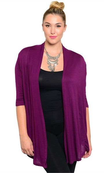 Plus Size Purple Cardigan