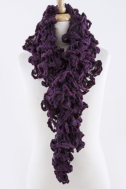 Purple Ruffled Knit Scarf