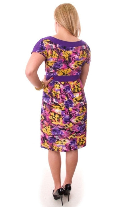 Purple Multi Print Dress