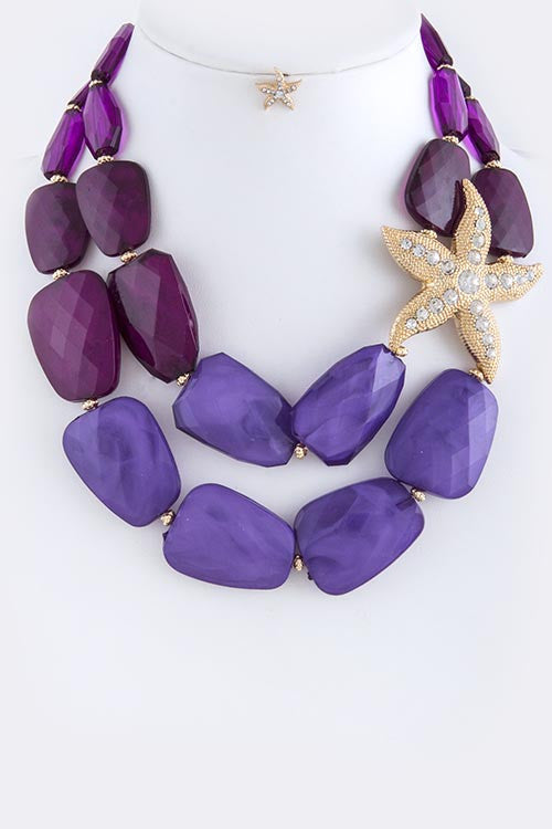 Purple Rhinestone Pave Star Accent Necklace Set