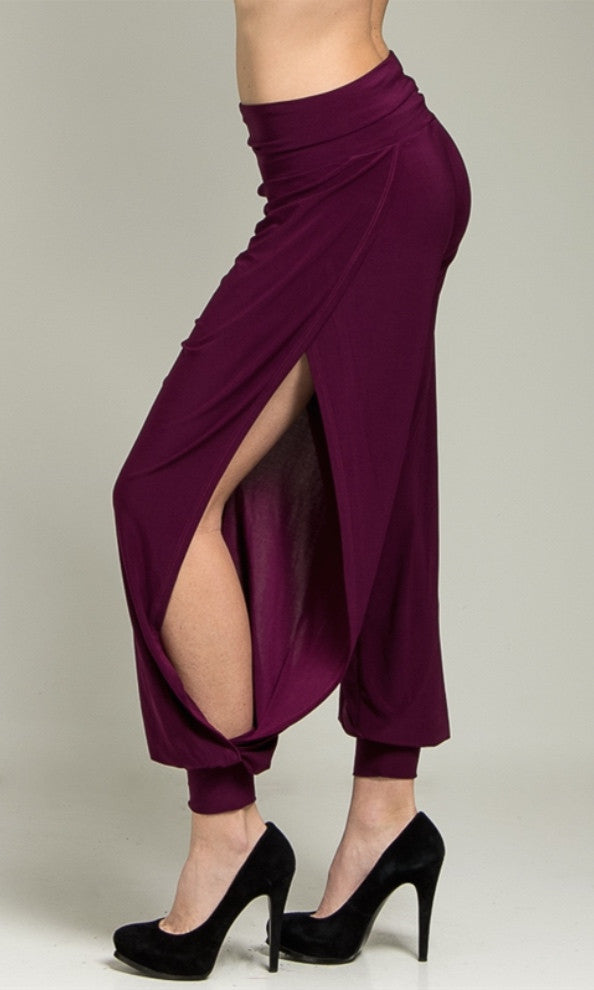 Open Sides Burgundy Slouchy Pants - FINAL SALE