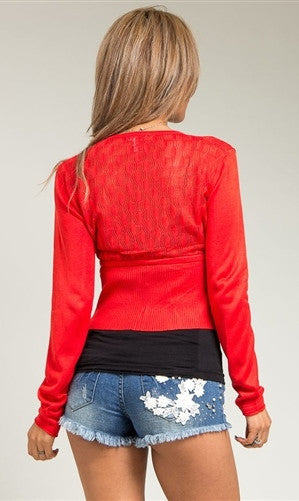 Red Fine Knit Cardigan - FINAL SALE