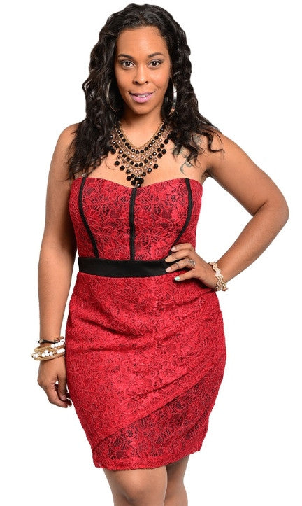 Plus Size Red Dress with Sweetheart Neckline