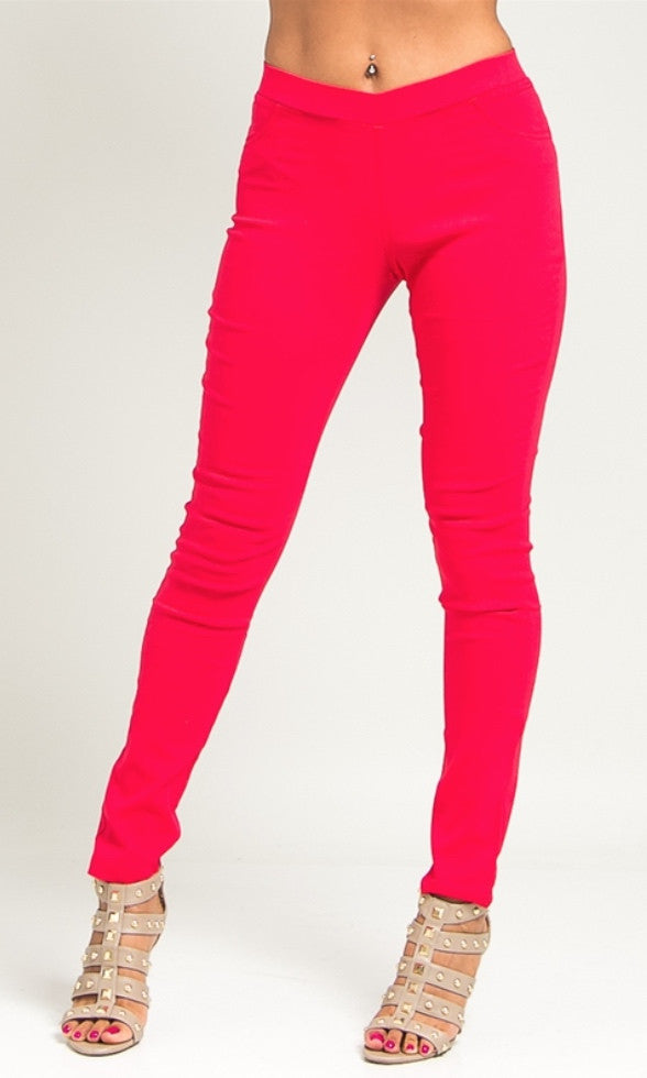 Red skinny ponte pants