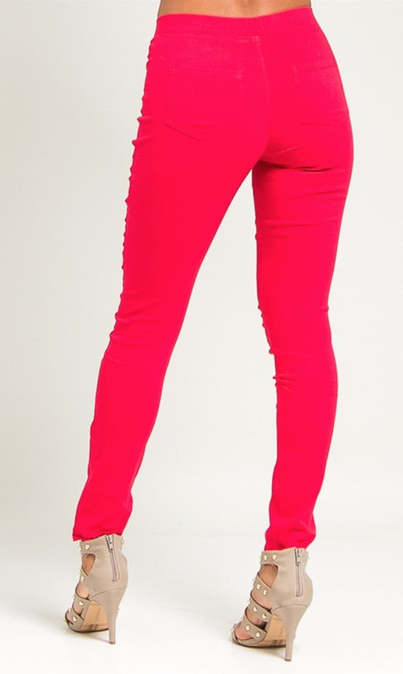 Slim leg ponte red pants
