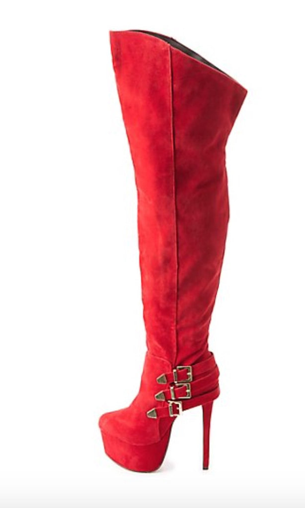 Red stiletto boots with side buckle