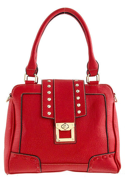 studded accent red purse