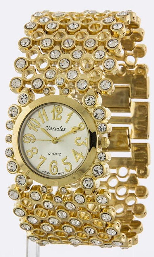 Rhinestone Encrusted Bracelet Watch
