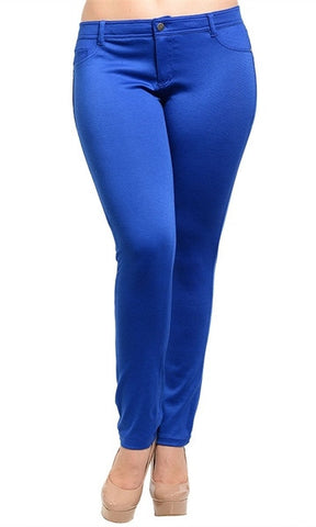 Royal Blue Junior Plus Size Skinny Pants - FINAL SALE