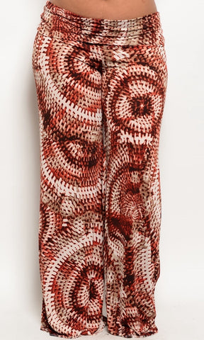 Plus Size pattern print trousers