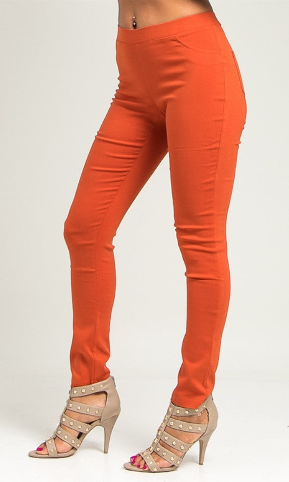 Rust color slim leg ponte pants