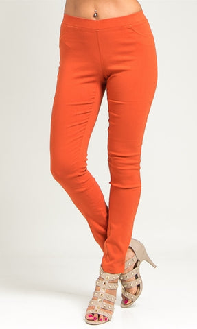 Rust color rayon ponte pants