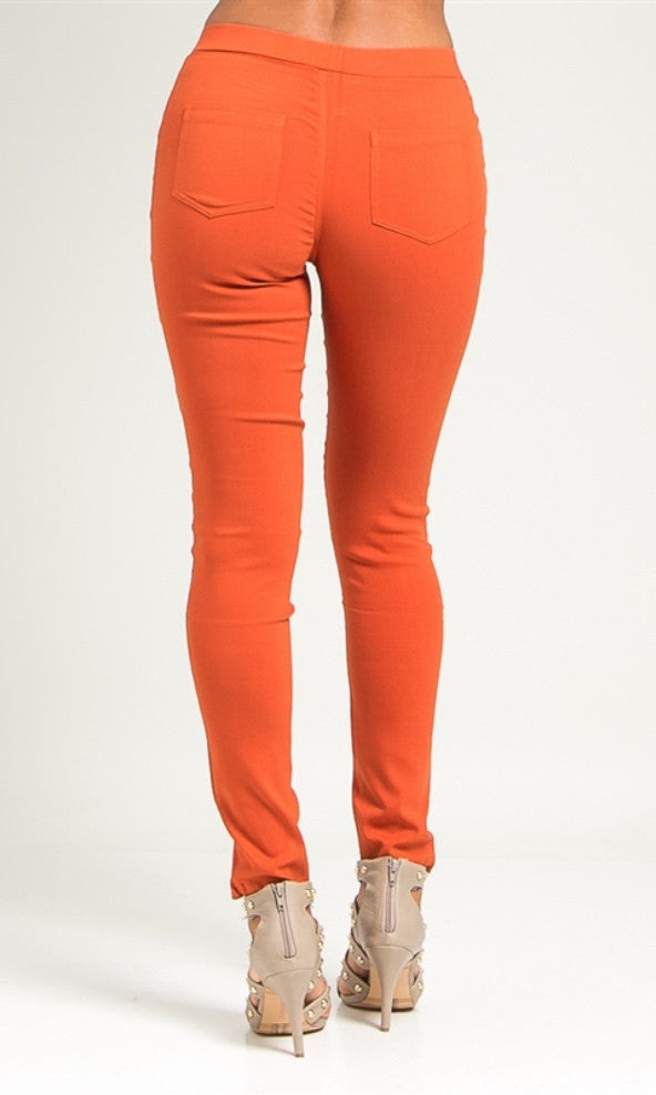Orange skinny ponte pants