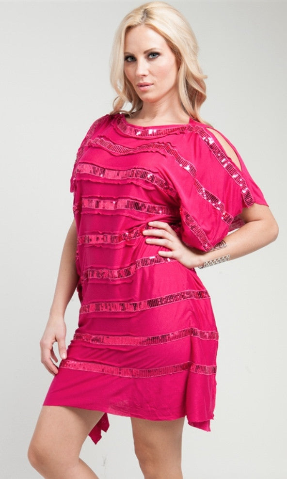 Sequined Stripe Fuchsia Dress- FINAL SALE