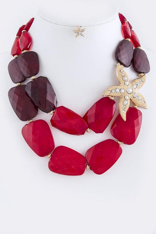 Red Rhinestone Pave Star Accent Necklace Set