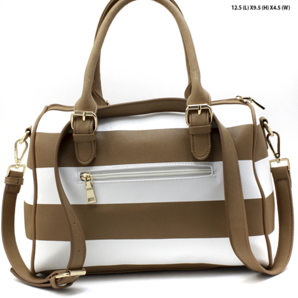 brown striped handbag