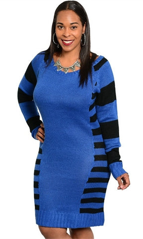blue with black striped sweater dress