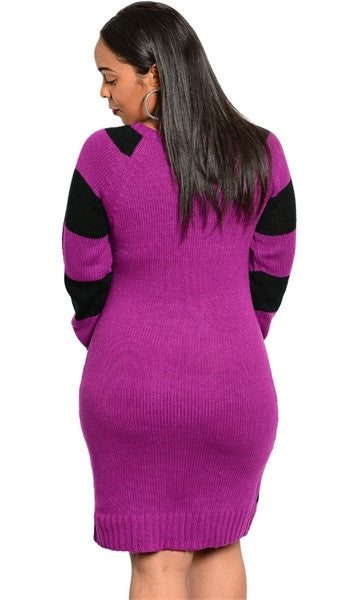 Black striped plus size sweater dress