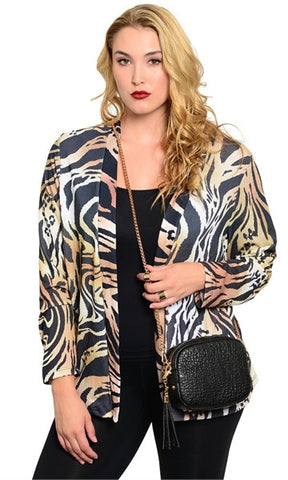 Plus Size Tiger Print Cardigan - Final Sale