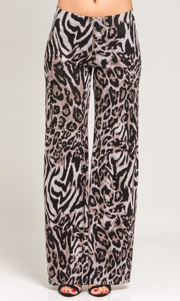 Black animal print wide leg trousers