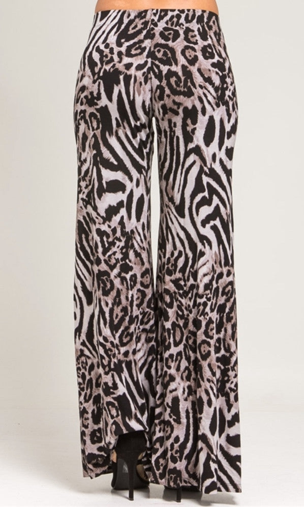 Black animal print palazzo pants