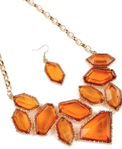 orange topaz fashion necklace and earrings