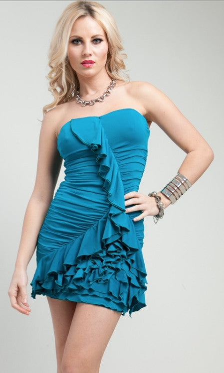 Turquoise Ruffled Sweetheart Dress