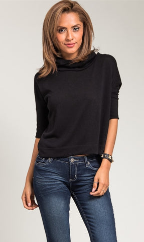 Pull-on black turtle neck sweater