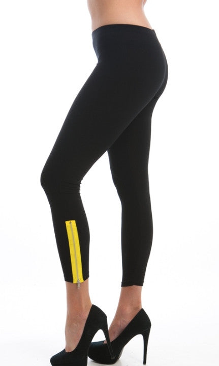 yellow accented zipped ankle black leggings