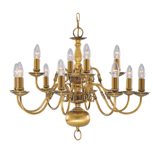 Searchlight 1019-12AB Flemish 12 Light Solid Brass Antique Pendant Ceiling Light