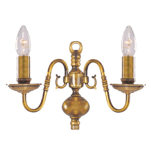 Searchlight 1019-2AB Flemish 2 Light Solid Brass Antique Wall Light