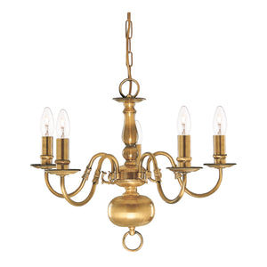 Searchlight 1019-5AB Flemish 5 Light Solid Brass Antique Pendant Ceiling Light