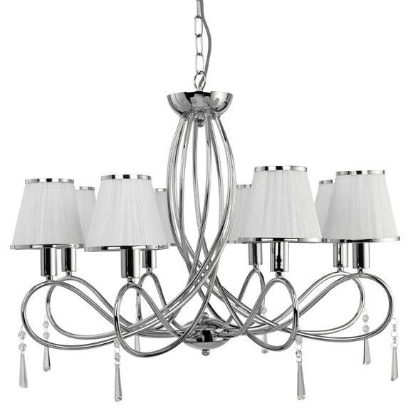 Searchlight 1038-8CC Simplicity 8 Light Polished Chrome Pendant Ceiling Light