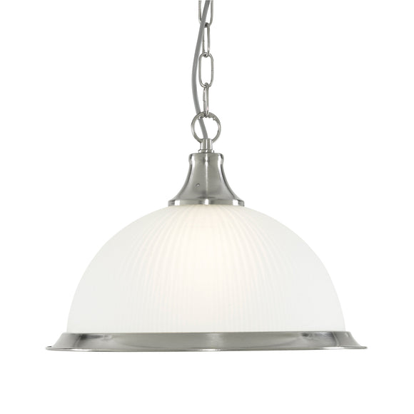 Searchlight 1044 American Diner 1 Light Satin Silver Pendant Ceiling Light
